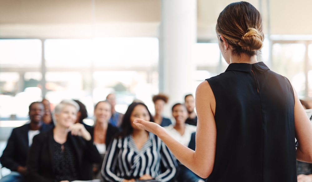 woman delivering training