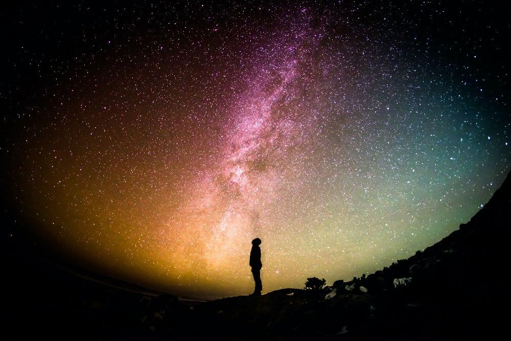 person under stars